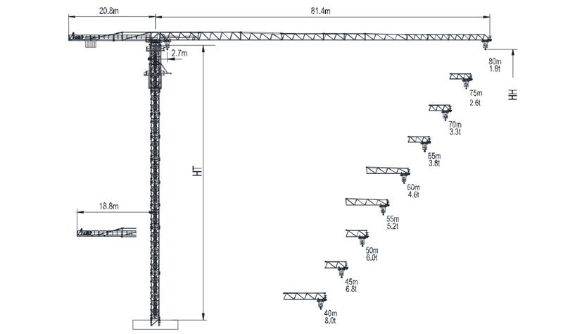 Topless Tower Crane TTC8018L-12-2019