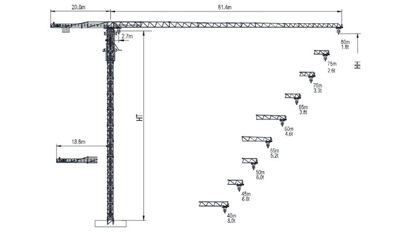 Topless Tower Crane TTC8018L-16